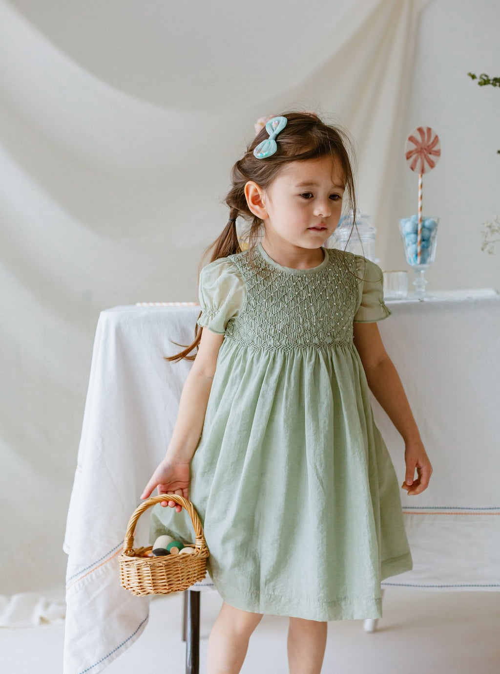 Ely Smocking Dress, Tender Green