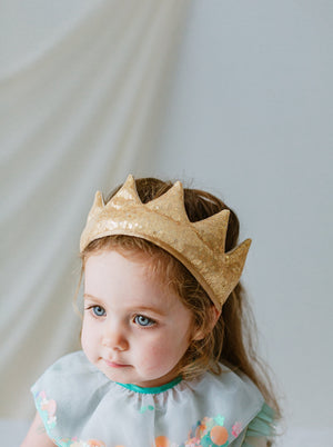Mary Sequined Fabric Crown, Sparkling Gold
