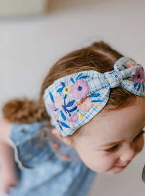 Artisan Emboidery Headband, Blue Check
