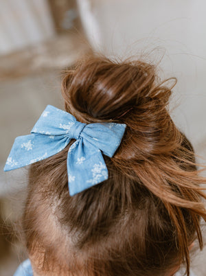Perrie Hair Bow Clip Set of 2, Denim Rosa