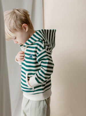 Kilnwood Organic Cotton Hoodie, Green Stripe