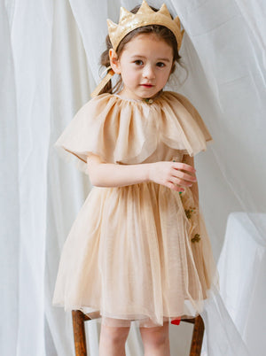 Rosevear Dress & Cape Set, Khaki Gold