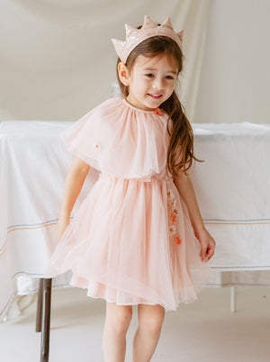 Rosevear Dress & Cape Set, Coral Pink
