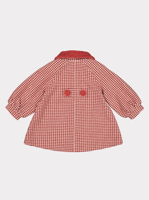 Larina Wool Coat, Red Herringbone