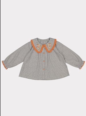 Mealla Blouse, Grey Herringbone