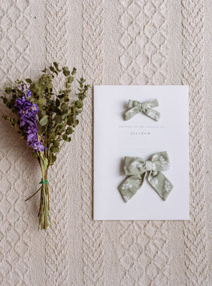 Perrie Hair Bow Set, Antique Green Floral