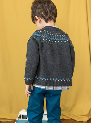 Somerhill Fair Isle Cardigan, Royal Grey