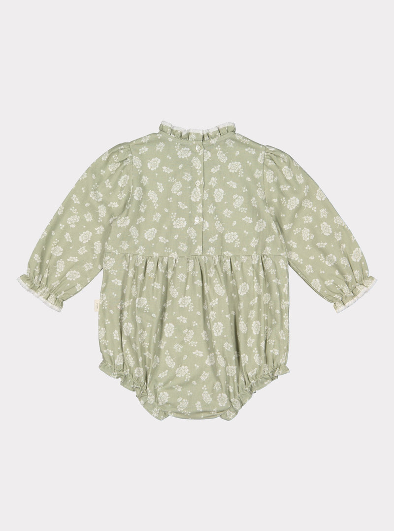 Wilbury Baby Romper, Antique Green Floral