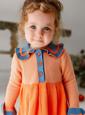 Amberley Knitted Dress, Orange Blue