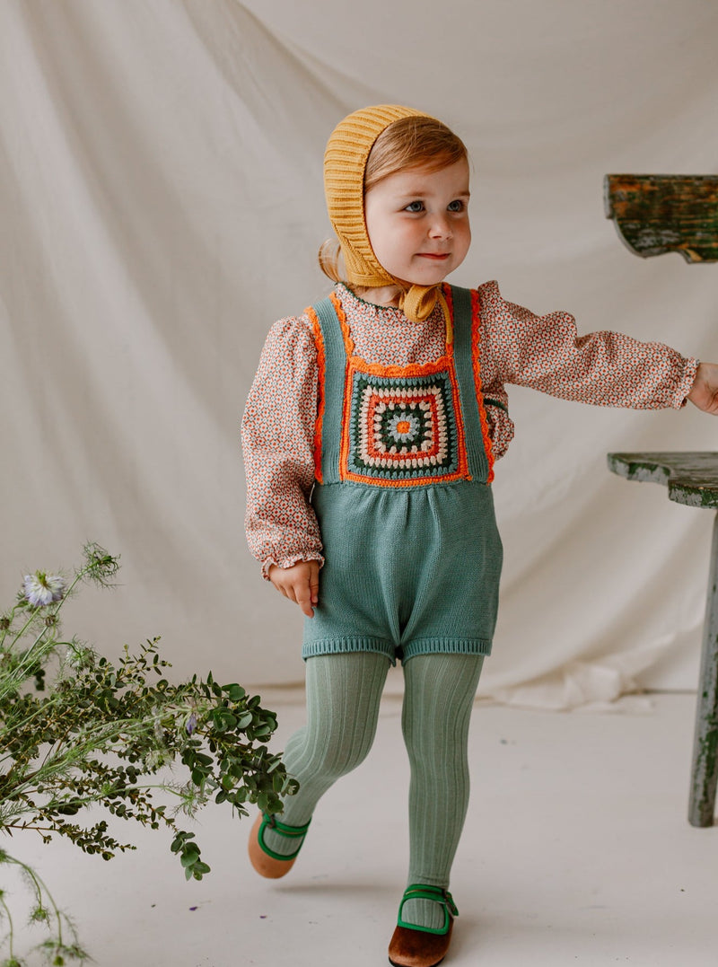 Littlemead Crochet Dungaree, Pine Green