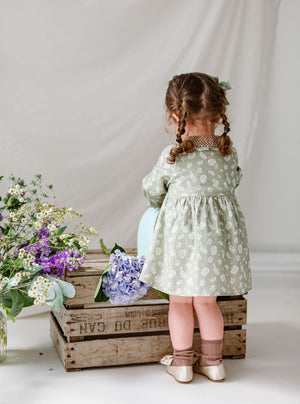 Palmeira Dress, Antique Green Floral