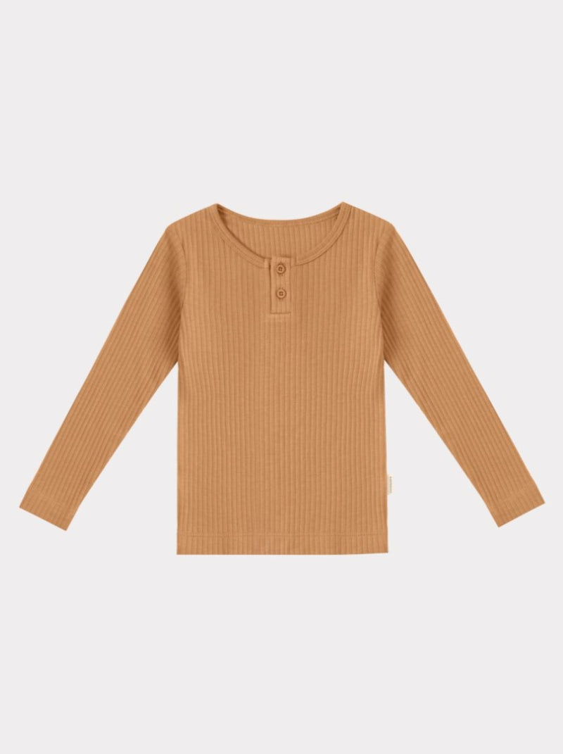 Ribbed Organic Cotton Jersey Long-sleeve Top, Camel
