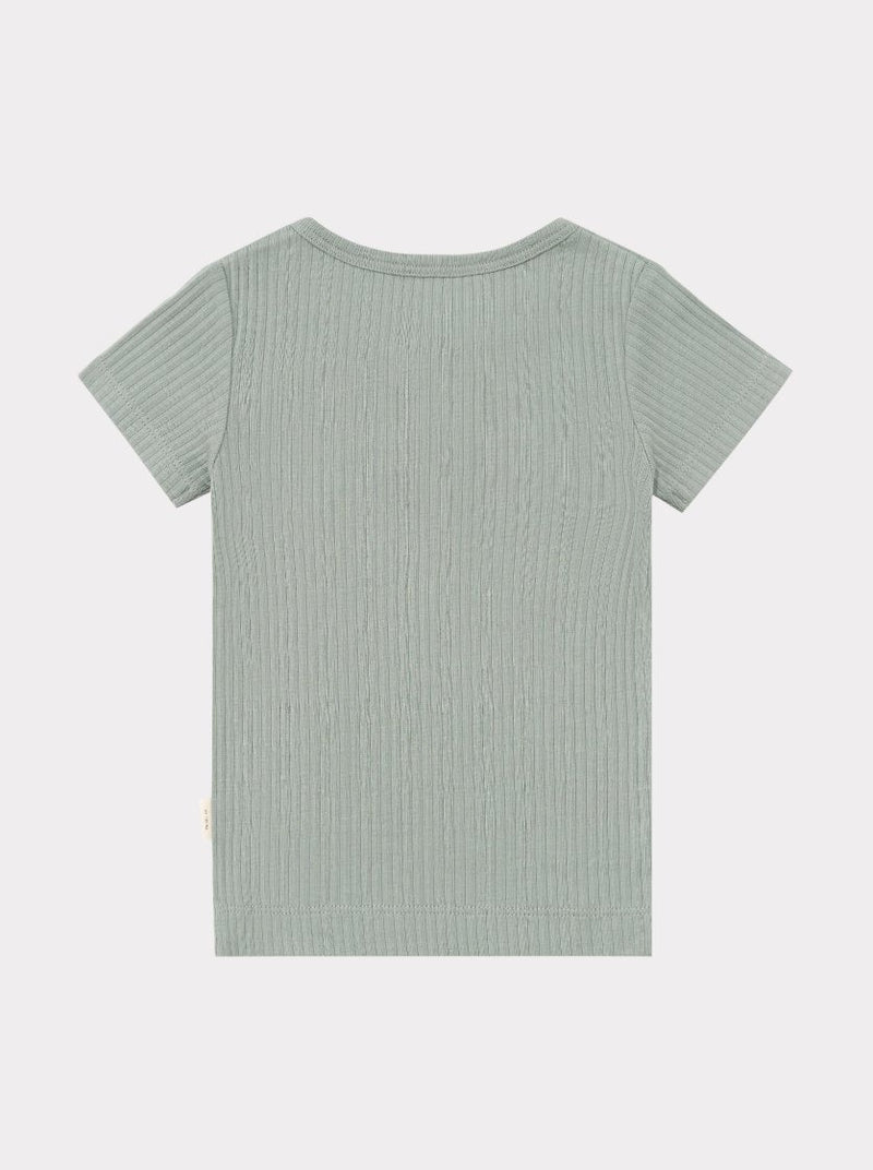 Ribbed Organic Cotton Jersey T-Shirt, Alga