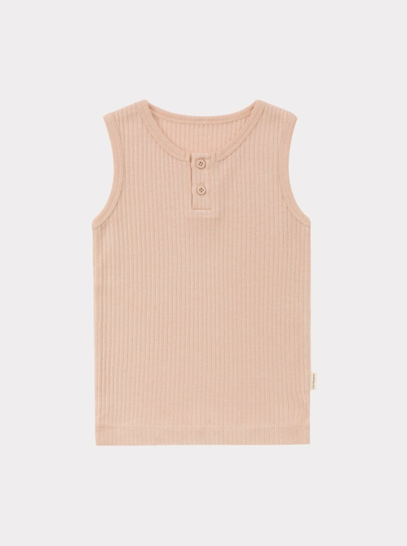 Ribbed Organic Cotton Jersey Vest, Terracota