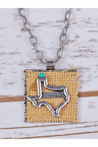Silver Texas Burlap Pendant on Silver Chain Necklace