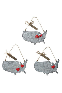 Christmas Map Tin Ornaments