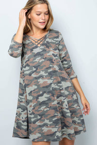 Camouflage Ribbbed Dress