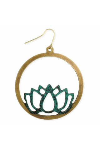 Go with the Flow Gold Patina Lotus Earring