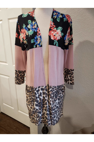 3 Block Floral and Leopard Cardigan