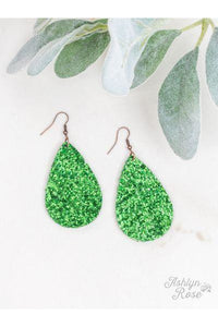 The Party Starter Glitter Earrings, Green Glitter