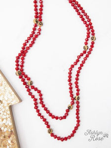 Leopard Bead Necklace - Red
