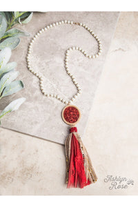 Glitter and Glam Statement Necklace with Medallion and Tassel, Red and Gold