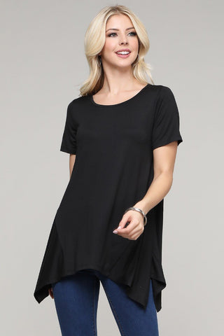 Black Handkerchief Hem Top