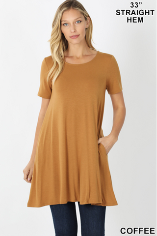 Coffee Flared Top With Side Pockets