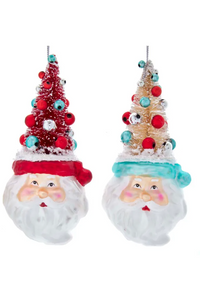 Glass Retro Mint Santa Head Ornaments