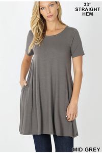 Mid Grey Flared Top With Side Pockets