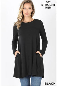 Straight Hem Long Sleeve Black Tunic