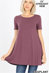 Eggplant Flared Top With Side Pockets