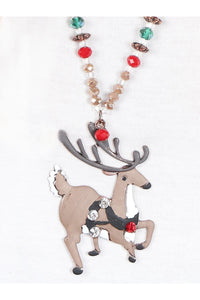 The Prancing Reindeer Pendant Necklace with Festive Beading