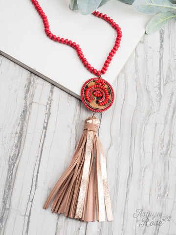 Red and Leopard Stone Necklace