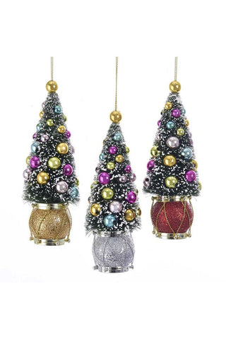 Sisal Tree With Ball and Drum Ornaments, 3 Assorted