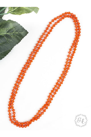 "60"" Double Wrap Beaded Necklace Iridescent Peach 8mm"