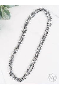 "The Essential 60"" Double Wrap Beaded Necklace, Graphite 8mm"