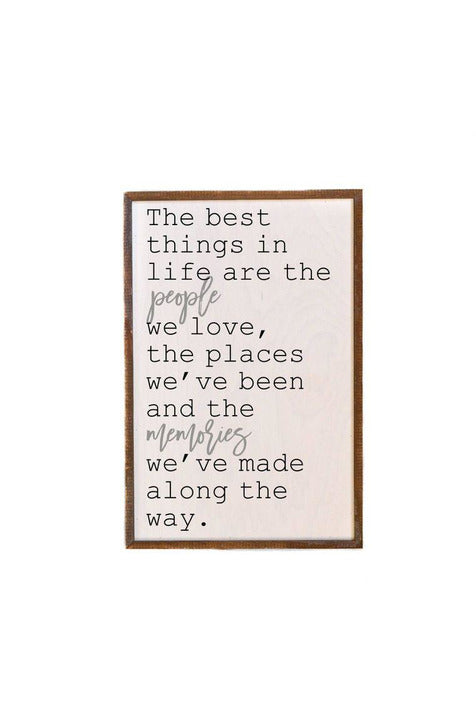 12x18 The Best Things In Life Wooden Wall Hanging