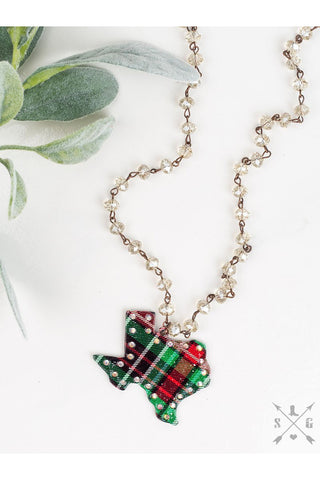Red and Green Plaid Texas Necklace