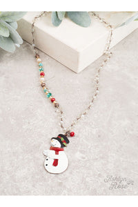 The Singing Snowman Necklace with Crystal Beading and Festive Accents, Copper