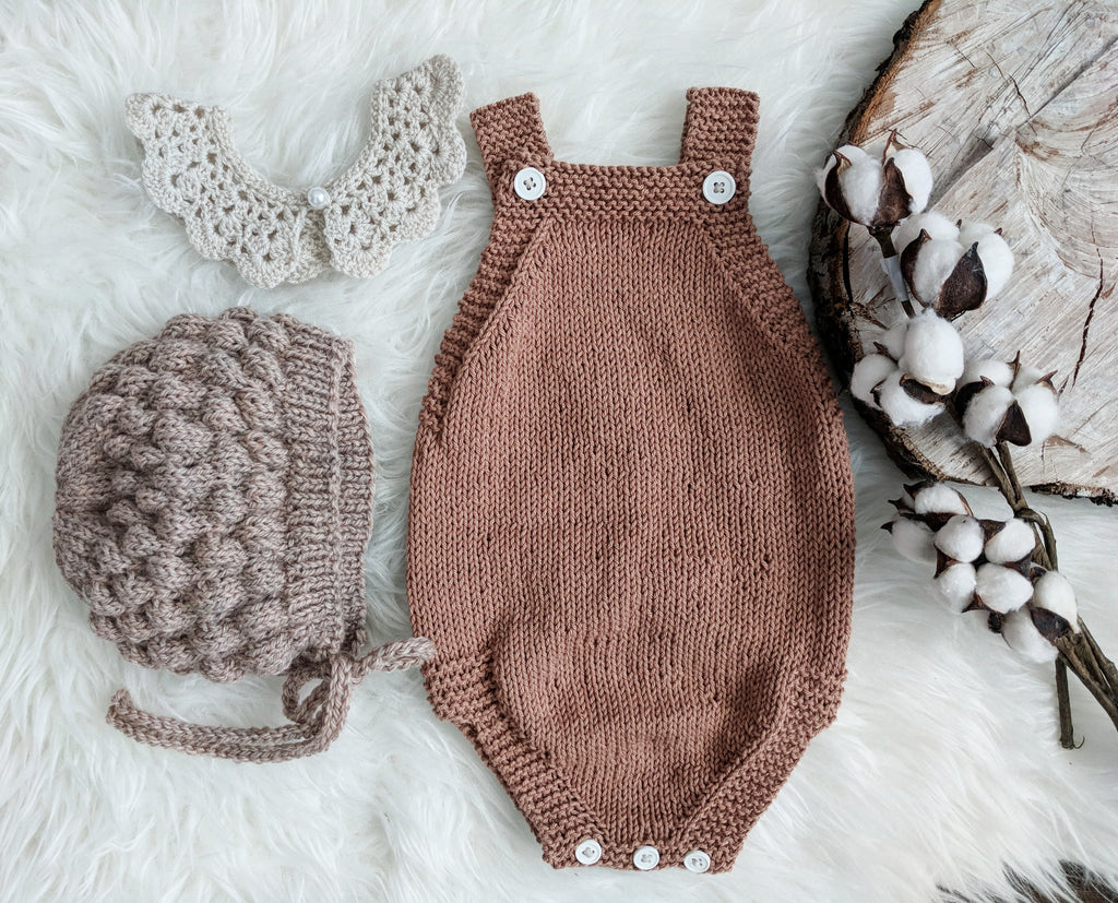 knit romper | hazel • cotton - Loops For Littles, handmade knits for infants and toddlers