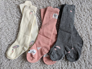 little critter knee socks - Loops For Littles, handmade knits for infants and toddlers