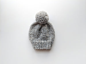 grey marble pom pom knit hat