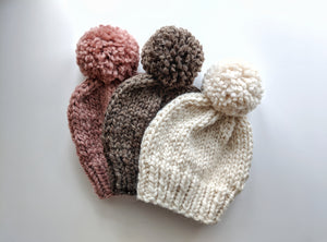 custom pom pom knit hat