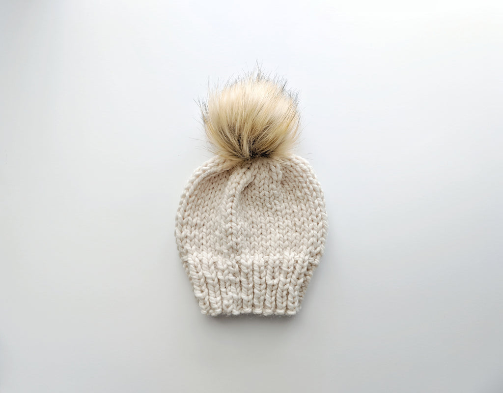 4T cream faux fur knit hat