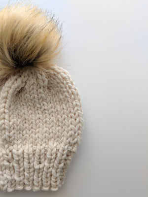 cream faux fur knit hat