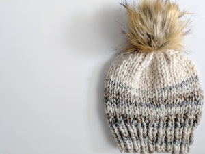 fossil cream faux fur knit hat
