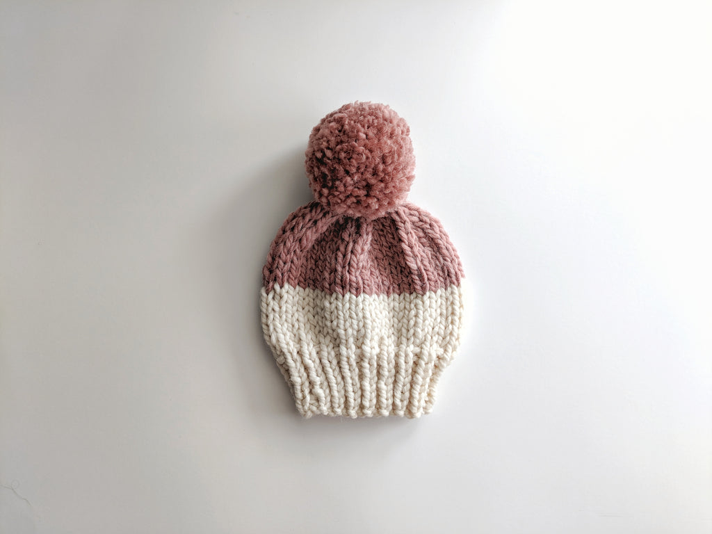 2T cream & dusty rose pom pom knit hat