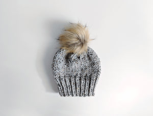 marble grey faux fur knit hat