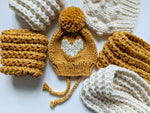 embroidered heart winter bonnet